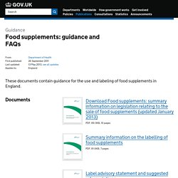 DEFRA 13/05/13 Food supplements: guidance and FAQs