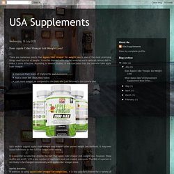 USA Supplements: Does Apple Cider Vinegar Aid Weight Loss?