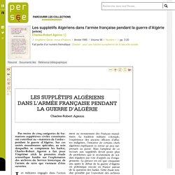 Les supplétifs Algériens dans l'armée française pendant la guerre d'Algérie
