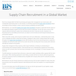 Supply Chain Recruitment in a Global Market