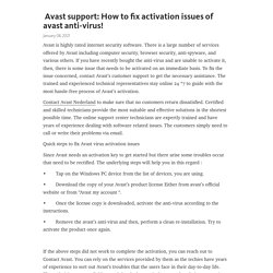 Avast support: How to fix activation issues of avast anti-virus! – Telegraph