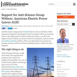 Support for Anti-Science Group Withers: American Electric Power Leaves ALEC