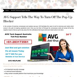 AVG Support tells the way to turn off the pop-up blocker