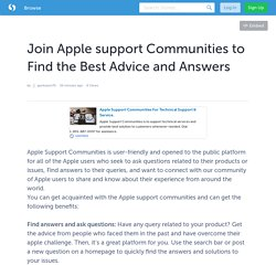 Join Apple support Communities to Find the Best Advice and Answers
