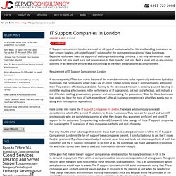 IT Support companies in London - Server Consultancy