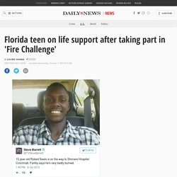 Fla. teen on life support after Facebook 'Fire Challenge'