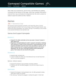 Mac games that support gamepads, and how they're configured.