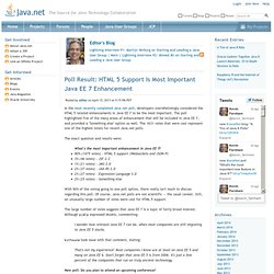 Poll Result: HTML 5 Support Is Most Important Java EE 7 Enhancement