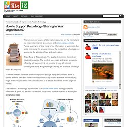 How to Support Knowledge Sharing in Your Organization? | bSix12