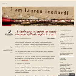 11 simple ways to support the occupy movement without sleeping in a park « i am lauren leonardi