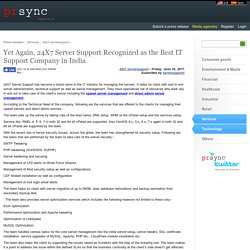 Yet Again, 24X7 Server Support Recognized as the Best IT Support Company in India