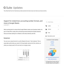 G Suite Update Alerts: Support for rotated text, accounting number formats, and more in Google Sheets