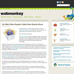 On Web Video Support, Safari Now Stands Alone