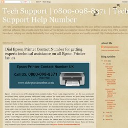 Tech Support Help Number: Dial Epson Printer Contact Number for getting experts technical assistance on all Epson Printer issues