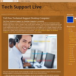 Toll Free Technical Support Desktop Computer