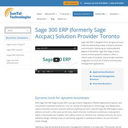 Sage Accpac Toronto ERP Support