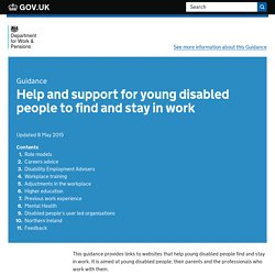 Help and support for young disabled people to find and stay in work