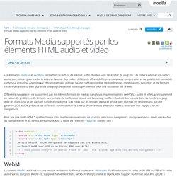 Formats Media supportés par les éléments HTML audio et vidéo - HTML (HyperText Markup Language)