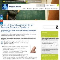 Tests – Informal Assessments for Parents, Students, Teachers