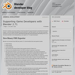 Supporting Game Developers with Blender 2.71