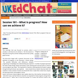 Session 161 – What is progress? How can we achieve it?