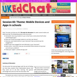 Session 83 - Theme: Mobile Devices and Apps in schools