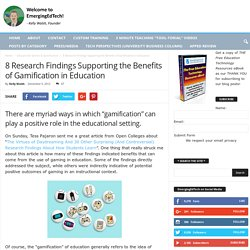 8 Research Findings Supporting the Benefits of Gamification in Education
