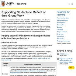 Supporting Students to Reflect on their Group Work