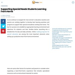 Supporting Special Needs Students Learning From Home - WriteUpCafe.com