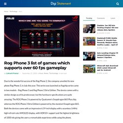 Rog Phone 3 list of games which supports over 60 fps gameplay