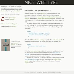 Nice Web Type – IE10 supports OpenType features via CSS