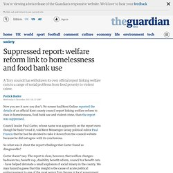 Suppressed report: welfare reform link to homelessness and food bank use