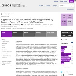 PLOS 02/07/15 Suppression of a Field Population of Aedes aegypti in Brazil by Sustained Release of Transgenic Male Mosquitoes