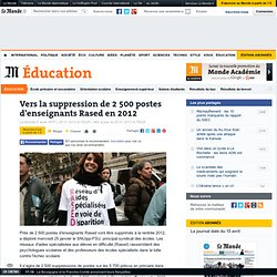 Vers la suppression de 2 500 postes d'enseignants Rased en 2012