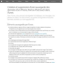 Création et suppression d'une sauvegarde des données d'un iPhone, iPad ou iPodtouch dans iTunes - Assistance Apple