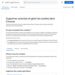 Supprimer, autoriser et gérer les cookies dans Chrome - Ordinateur - Aide GoogleChrome
