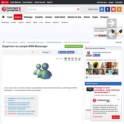 Supprimer un compte MSN Messenger
