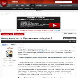Comment supprimer ou désactiver un compte facebook ?