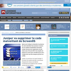 Juniper va supprimer le code malveillant de ScreenOS