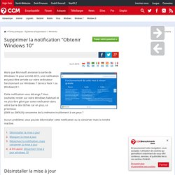 "Supprimer la notification ""Obtenir Windows 10"""