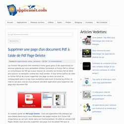 Supprimer une page d'un document Pdf à l'aide de Pdf Page Delete