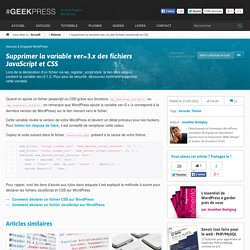 Supprimer la variable ?ver=3.x des fichiers JS et CSS de WordPress