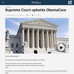 Supreme Court upholds ObamaCare