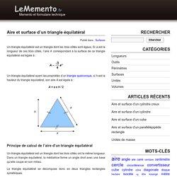 Aire et surface d'un triangle équilatéral