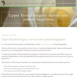 Upper Eyelid Surgery: survey into patient happiness - Plastic, Facial Surgeon & Cosmetic Surgery Melbourne - Dr Bryan Mendelson