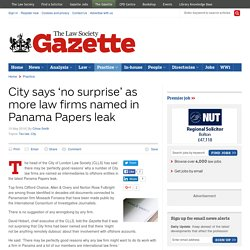 City says 'no surprise' as more law firms named in Panama Papers leak