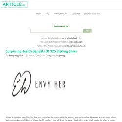 Surprising Health Benefits Of 925 Sterling Silver