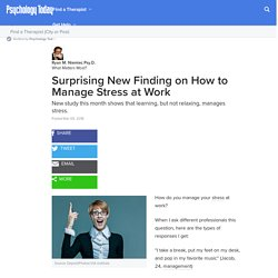 Surprising New Finding on How to Manage Stress at Work