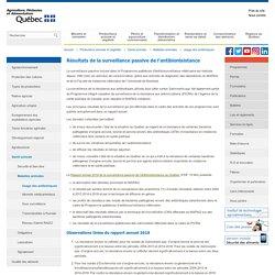 MAPAQ - JUILLET 2019 - Résultats de la surveillance passive de l'antibiorésistance