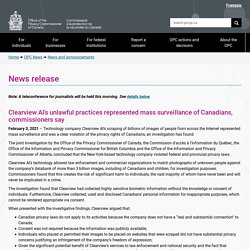 News release: Clearview AI's unlawful practices represented mass surveillance of Canadians, commissioners say